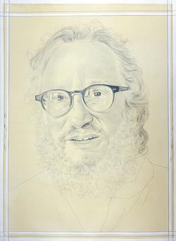 A drawing of writer and art critic Barry Schwabsky by Phong Bui