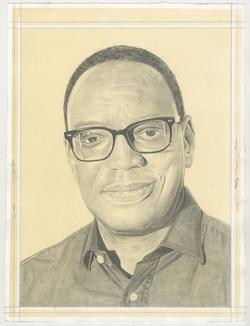 This is a pencil drawn portrait of Author and Art Collector, Alvin Hall with an off-white background, drawn by the Rail's publisher Phong Bui.