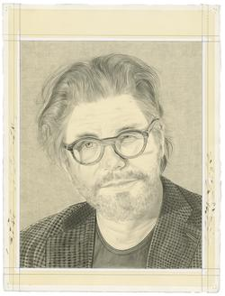 This is a portrait of Bob Holman. It is a pencil drawing on off white paper by the Rail's publisher, Phong Bui.
