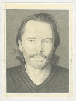 This is a pencil drawn portrait of artist Matvey Levenstein with a gray background, drawn by the Rail's publisher, Phong Bui