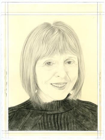 A drawing of Constance Lewallen by Phong Bui