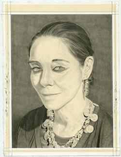 Portrait drawing of Shirin Neshat by Phong H. Bui