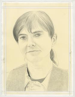 This is a pencil drawn portrait of Artist Raha Raissnia with an off-white background, drawn by the Rail's publisher Phong Bui.
