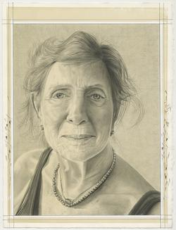 This is a pencil drawn portrait of Artist Dorthea Rockburne with a shaded, off-white background, drawn by the Rail's publisher Phong Bui.