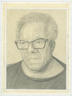 A pencil drawing of artist Stanley Whitney against an off-white background by the Rail's publisher, Phong Bui.