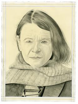 This is a pencil drawn portrait of Poet Anne Waldman with an off-white background, drawn by the Rail's publisher Phong Bui.